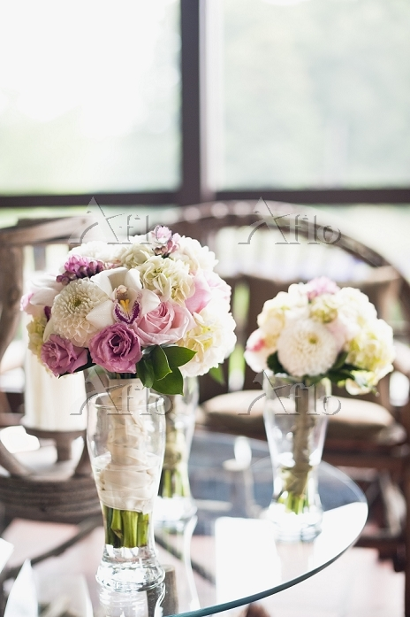 Bouquets of Flowers on Tables ・・・
