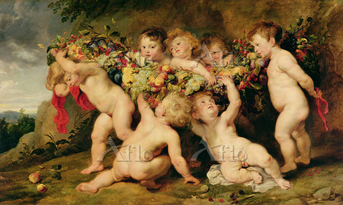 ルーベンス「果実網を運ぶ7人のプットーたち」