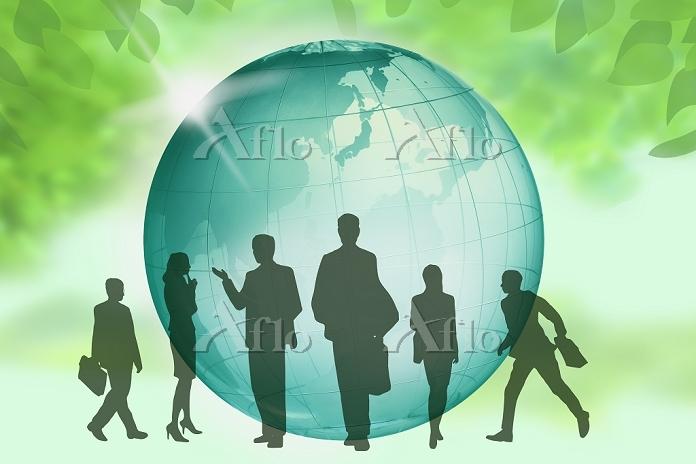 ビジネスマンとビジネスウーマンのシルエットと地球 CG