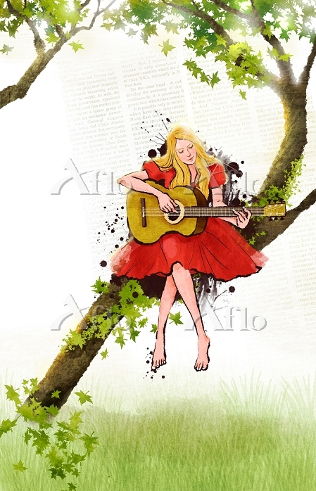 Woman Sitting On Branch Of Tre・・・