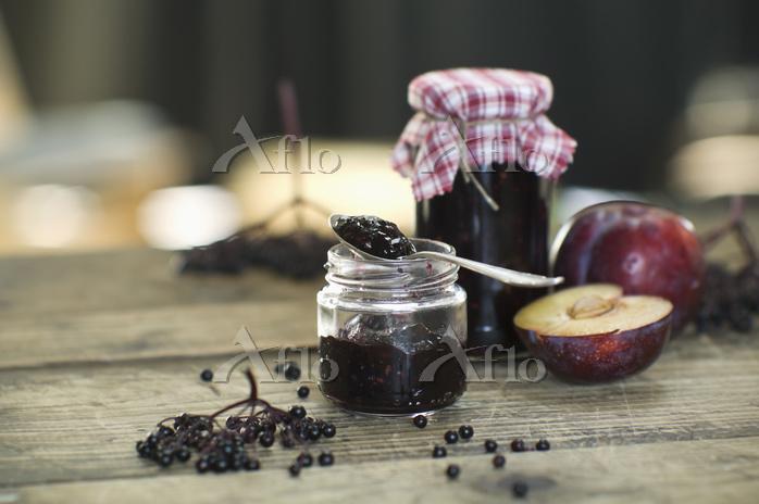 Homemade jam with elderberries・・・