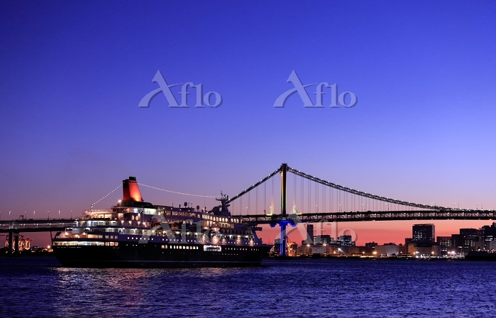 東京都 レインボーブリッジとクルーズ船の夜景