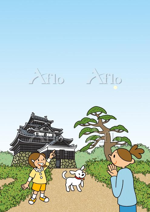 島根県 国宝 松江城 親子 犬