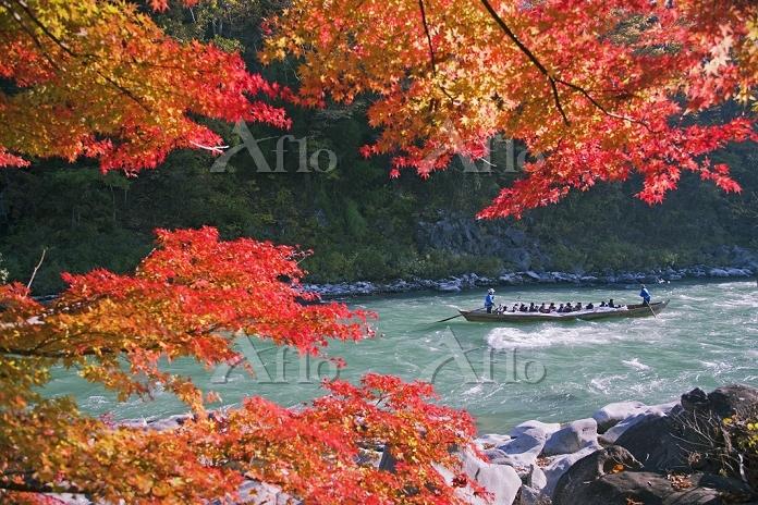 長野県 紅葉の天竜川 天竜舟下り