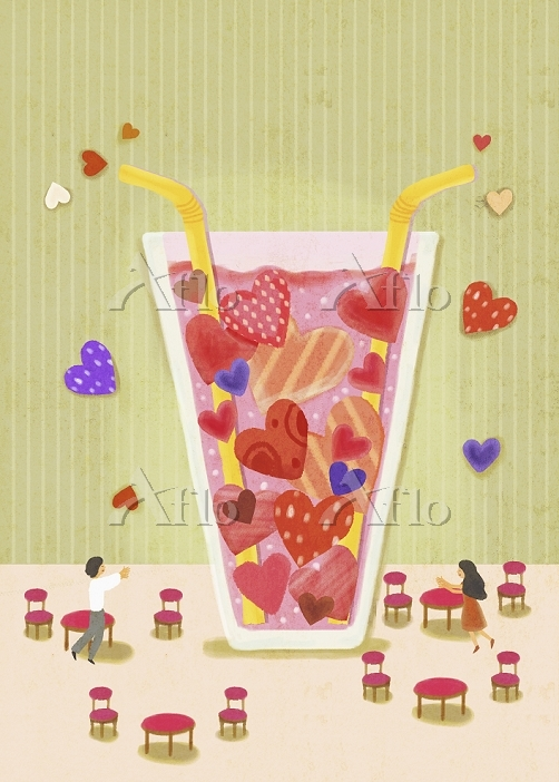 A drink with hearts inside