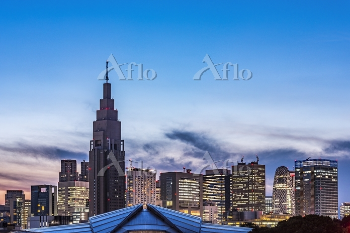 東京都 NTTドコモ代々木ビルと新宿高層ビル群