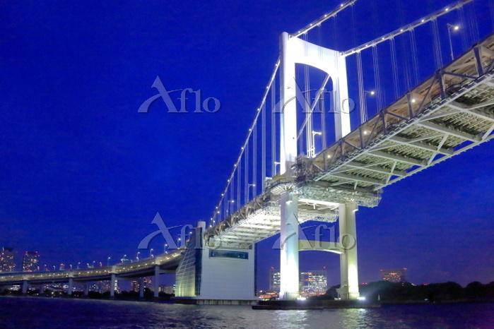 東京都 遊覧船からレインボーブリッジの夜景