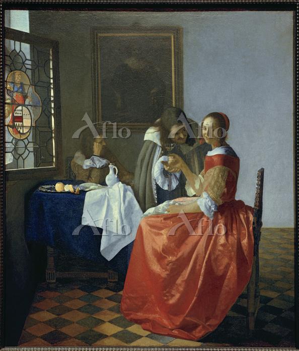 フェルメール 「二人の紳士と婦人(ワイングラスを持つ娘)」