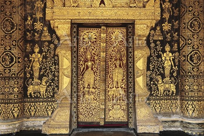 ラオス ルアンパバーン 寺院の壁の装飾、ワット・シェートン