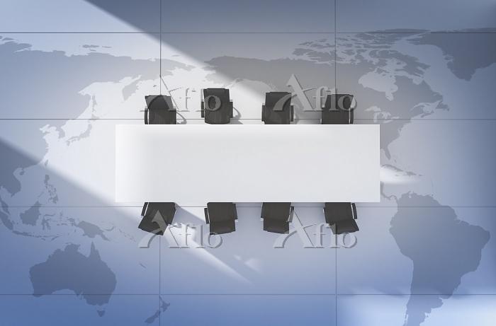 世界地図とビジネスイメージ CG