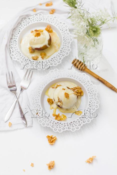 Gebackene Pfirsiche mit Honig-・・・