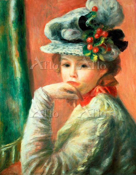 ルノワール  「白い帽子をかぶった若い少女」