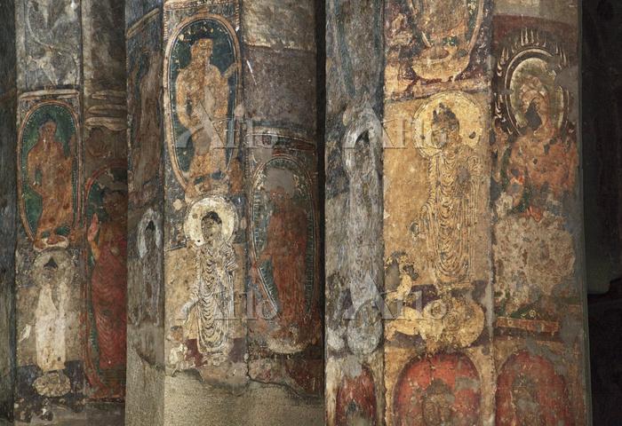 インド アジャンター石窟群 第10窟 列柱に描かれた壁画