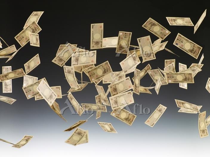 舞い散る一万円札