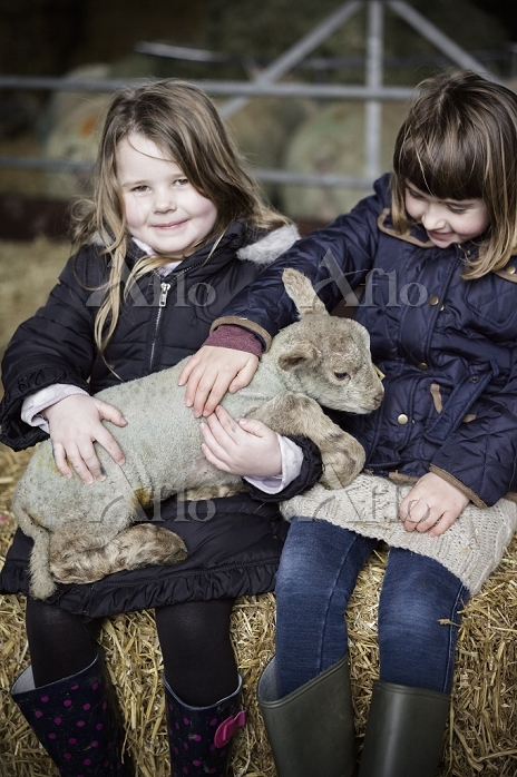 Children and new-born lambs in・・・