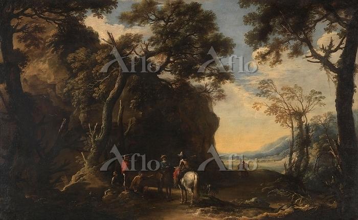 サルヴァトール・ローザ「道を尋ねる旅人のいる風景」