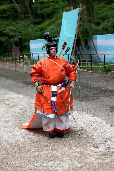 京都府 下鴨神社 流鏑馬(葵祭) 準備 演者 狩衣姿