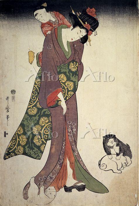 喜多川歌麿 「美人画 美人子守之図」
