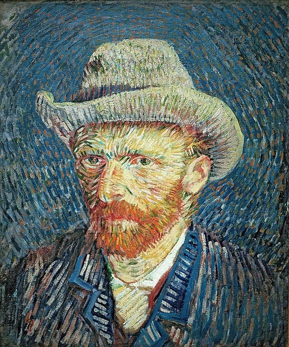 ゴッホ 「グレーのフェルト帽の自画像」