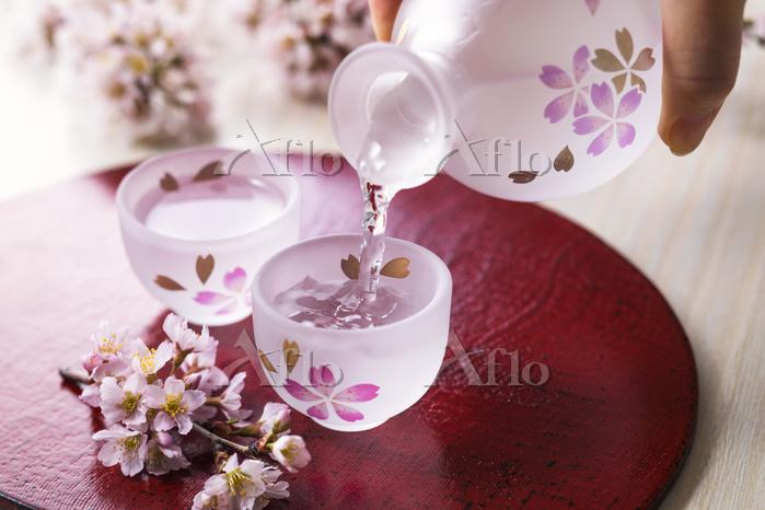 日本酒と桜