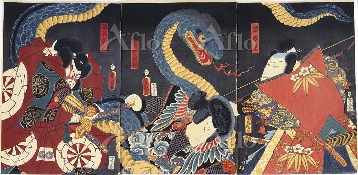 三代豊国 「源頼光・袴垂保輔・碓井貞光と大蛇」