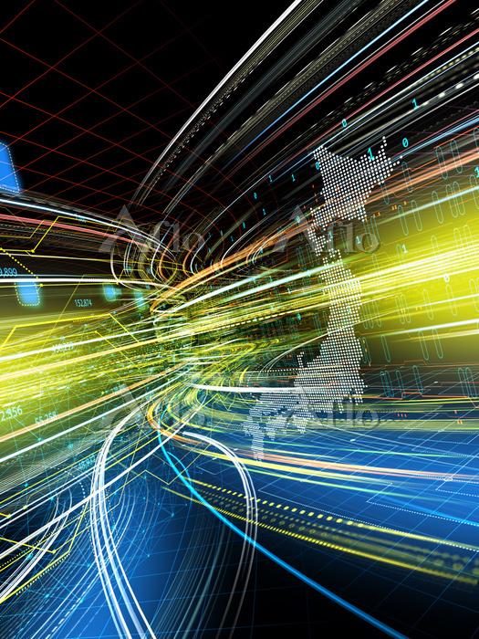 日本地図と回路に沿って高速移動する光線群