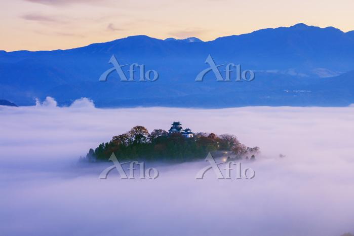 福井県 天空の城 雲海と紅葉の越前大野城朝景