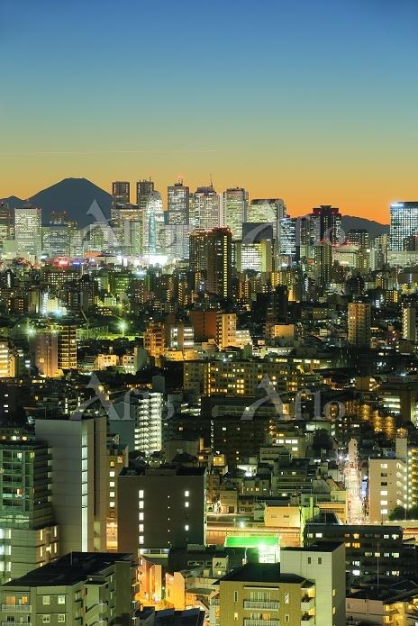 東京都 夕暮れの富士山と新宿の高層ビル群