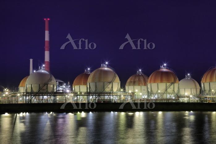 山口県 周南の工場夜景 日本ゼオン