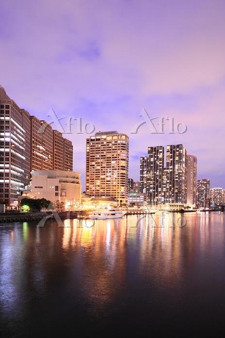 東京都 天王洲アイルのビル群 夜景