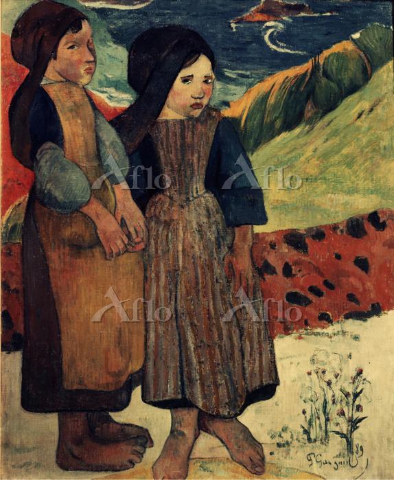 ゴーギャン 「海辺に立つブルターニュの少女たち」