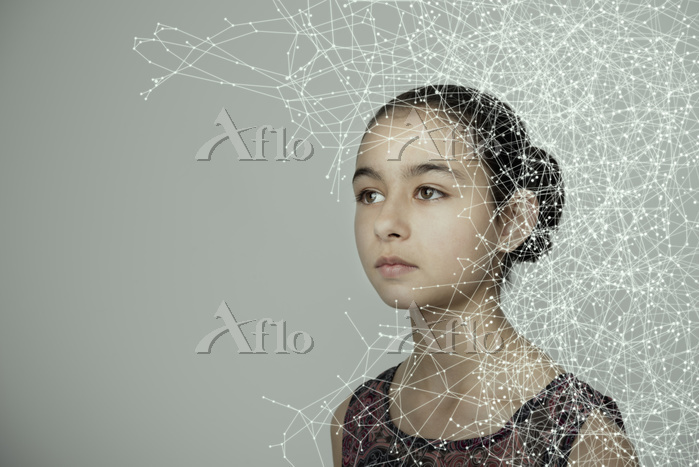 Mixed race girl with spider we・・・