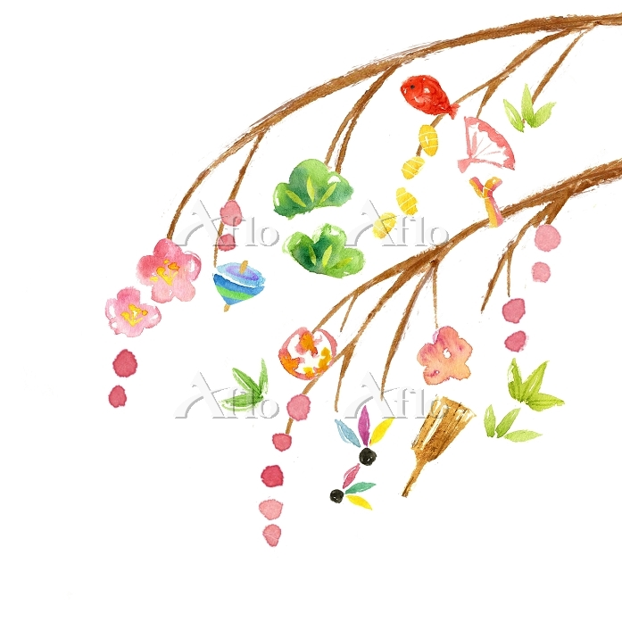 水彩画 餅花