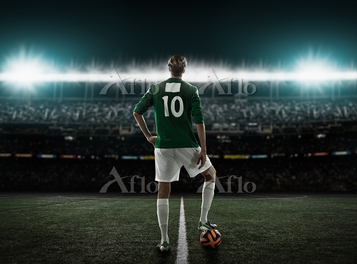 Footballer waiting to kick off