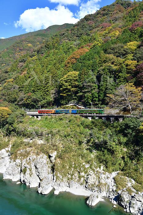 徳島県 土讃線 大歩危峡を走る観光列車四国まんなか千年ものが・・・