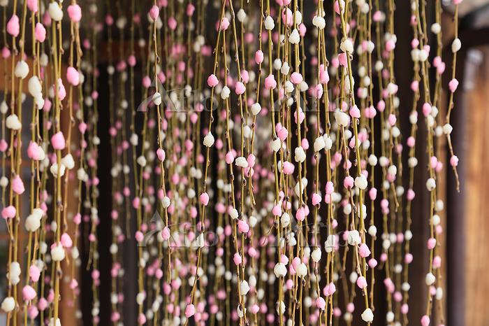軒先に吊された正月の餅花