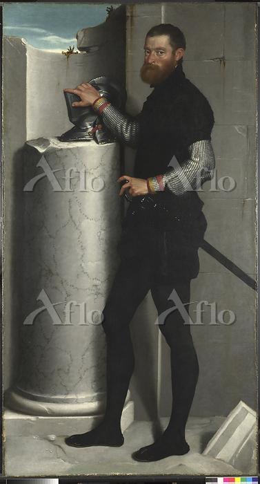ジョヴァンニ・バッティスタ・モローニ「円柱の上に兜を置いた紳・・・