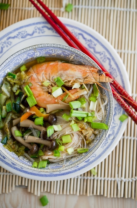 Noodle soup with shrimps and s・・・