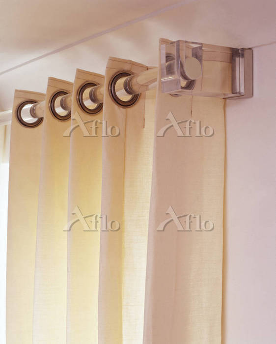 Cream curtains with clear plas・・・