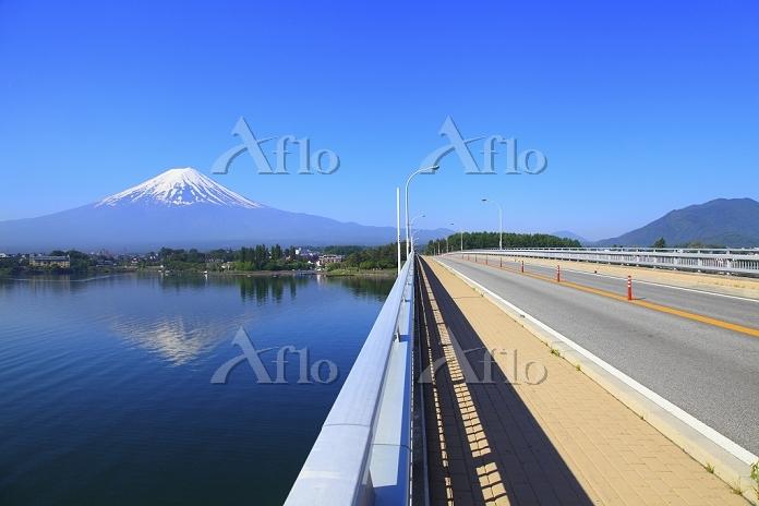山梨県 河口湖 残雪の富士山と河口湖大橋