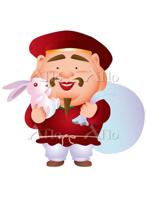 白ウサギを抱く大黒様