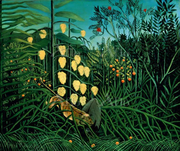 アンリ・ルソー 「ジャングル、虎と野牛の戦い」