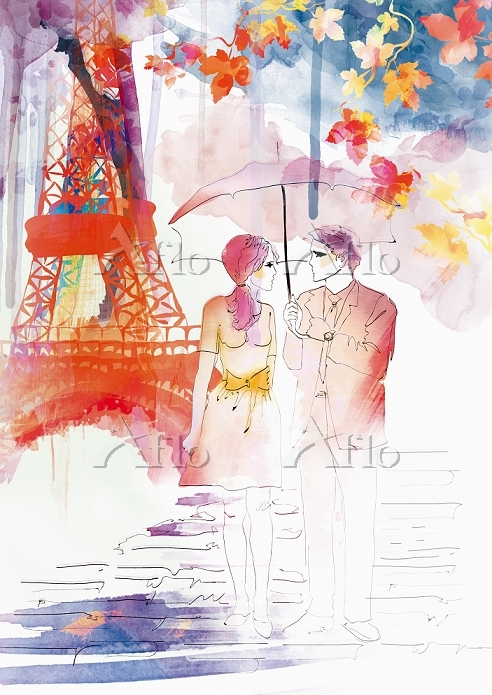 Romantic couple walking in aut・・・
