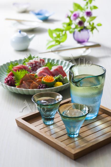 日本酒とお刺身5点盛り