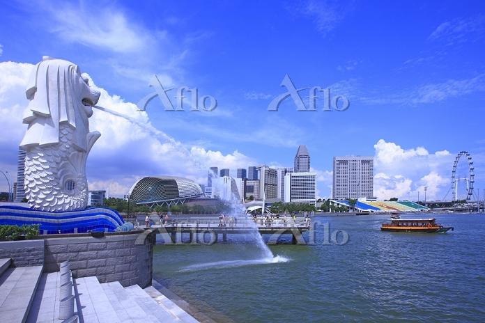 シンガポール マーライオンとマリーナ地区