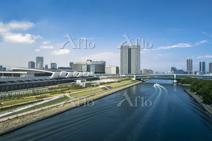 豊洲市場5街区と豊洲、東雲のビル群