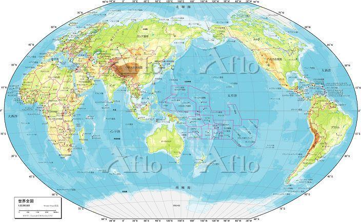 世界地図 自然図 地図