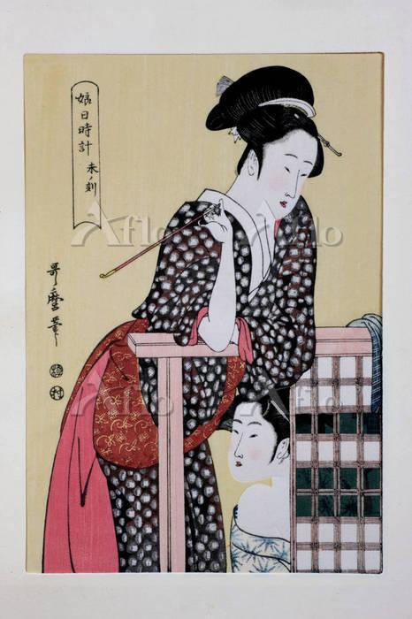 喜多川歌麿 「娘日時計・未ノ刻」