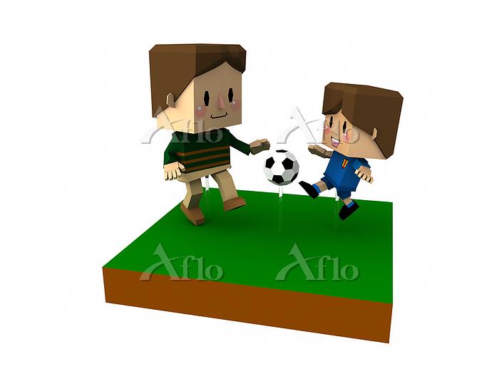ハコキャラ親子のサッカー