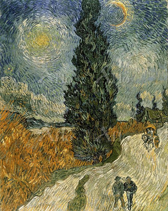 ゴッホ 「星月夜の糸杉のある道」